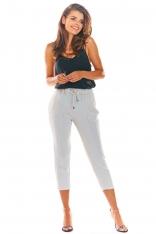 Beżowe Stylowe Spodnie z Troczkami