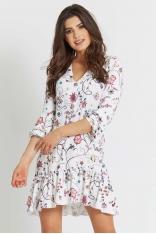Sukienka w Stylu Boho z Roślinnym Wzorem