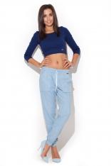 Błękitne Spodnie Bawełniane z Troczkami