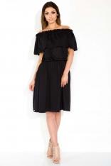 Czarna Sukienka Midi z Hiszpańskim Dekoltem