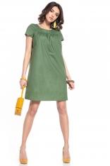 Luźna Sukienka z Krótkim Rękawem - Zielona