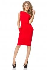 Czerwona Sukienka Dzianinowa z Kieszeniami
