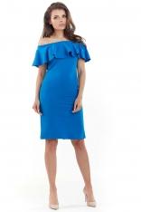 Niebieska Wizytowa Sukienka Carmen z Falbanką