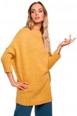 Miodowy Melanżowy Oversizowy Sweter z Półgolfem