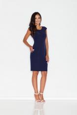 Niebieska Prosta Sukienka Midi z Przeszyciami