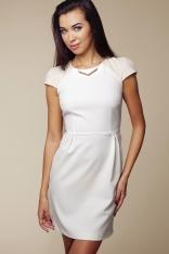 Żakardowa Kremowa Sukienka z Krótkim Rękawem