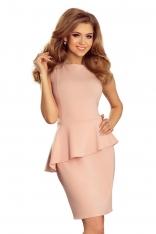Różowa Sukienka Ołówkowa bez Rękawów z Asymetryczną Baskinką