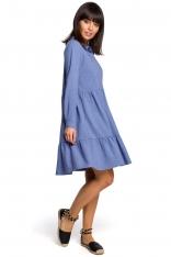 Niebieska Koszulowa Sukienka z Falbankami