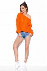 Pomarańczowy Oversizowy Sweter z Ażurem