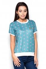 Niebieska Bluzka we Flamingi z Kieszonką na Suwak