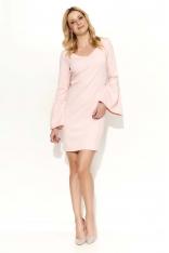Pudrowa Sukienka Mini z Dzwonkowym Rękawem