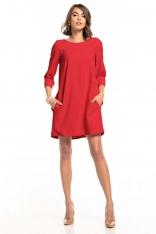 Luźna Sukienka Marszczona na Plecach - Malinowa
