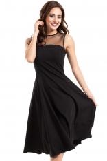Czarna Sukienka Midi z Transparentnym Karczkiem bez Rękawów