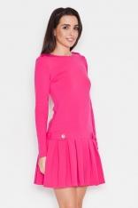 Różowa Casualowa Sukienka z Pagonami z Długim Rękawem