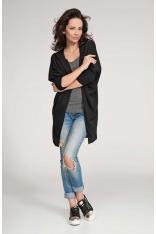 Czarny Sweter Lekki Długi bez Zapięcia