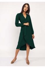 Zielona Asymetryczna Sukienka Kopertowa z Wiązanym Paskiem