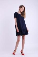 Granatowa Mini Sukienka w Romantycznym Stylu