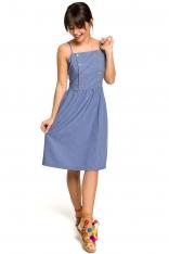 Niebieska Sukienka na Ramiączkach Ozdobiona Guzikami