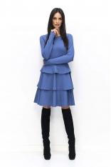 Jeansowa Wyjściowa Sukienka z Falbankami