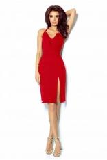 Czerwona Mini Sukienka Wiązana na Karku
