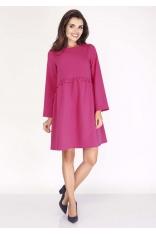 Różowa Sukienka z Falbanką w Talii