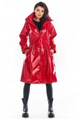 Czerwona Winylowy Płaszcz z Wysokim Kołnierzem