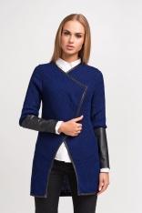 Granatowy Stylowy Sweter Narzutka z Dodatkiem Eco-Skóry