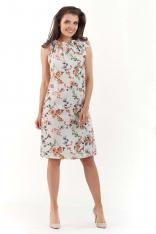 Ecru Kobieca Sukienka w Kwiatowy Wzór Kokardą na Ramieniu