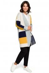 Granatowy Dłuższy Sweter Kardigan w Kolorowe Prostokąty