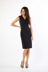 Czarna Dopasowana Sukienka bez Rękawów z Dekoltem V