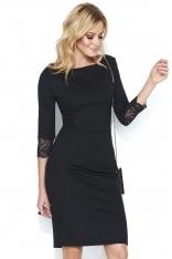 Czarna Dopasowana Sukienka z Czarną Koronką na Rękawach