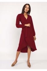 Bordowa Asymetryczna Sukienka Kopertowa z Wiązanym Paskiem