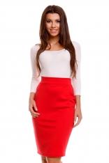 Czerwona Dzianinowa Ołówkowa Spódnica z Ozdobnym Suwakiem