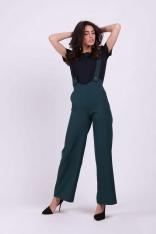 Zielone Spodnie z Prostymi Nogawkami na Szelkach