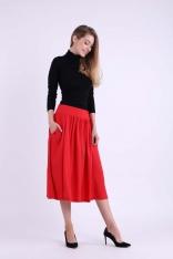 Czerwona Rozkloszowana Spódnica Midi