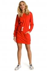 Czerwona Sukienka Sportowa Mini z Kapturem