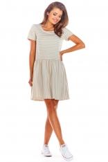 Beżowa Krótka Sukienka w Paski na Lato