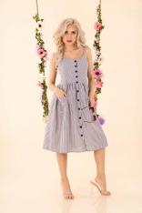 Rozkloszowana Sukienka w Paski - Szara