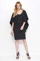 Czarna Sukienka Midi z Peleryną