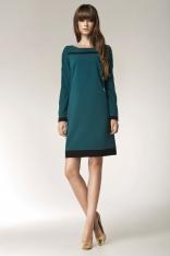 Zielona Elegancka Sukienka z Długim Rękawem i Czarnymi Panelami