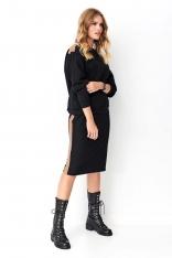 Czarny Komplet Bluza + Spódnica z Eko-Skórą