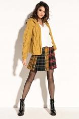 Żółty Krótki Kardigan z Kapturem w Formie Bomberki