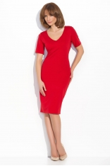 Czerwona Elegancka Klasyczna Sukienka z Dekoltem w Szpic