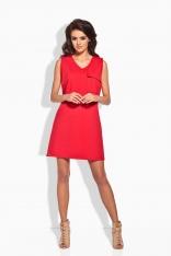 Sportowa Czerwona Sukienka z Kieszonką