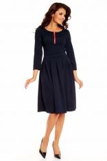 Granatowy Elegancka Sukienka przed Kolano z Zakładkami