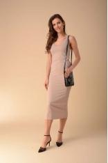 Ołówkowa Sukienka na Ramiączkach - Beżowa