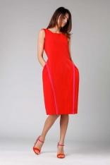 Czerwona Rozkloszowana Sukienka bez Rękawów z Wypustkami