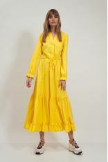 Rozpinana Sukienka z Falbankami - Żółta