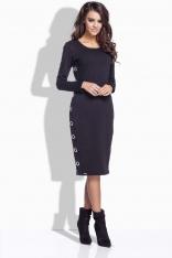 Czarna Sukienka Midi z Dekoracyjnym Panelem
