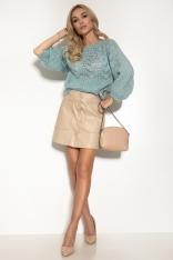 Ażurowy Sweter z Bufiastym Rękawem - Błękitny